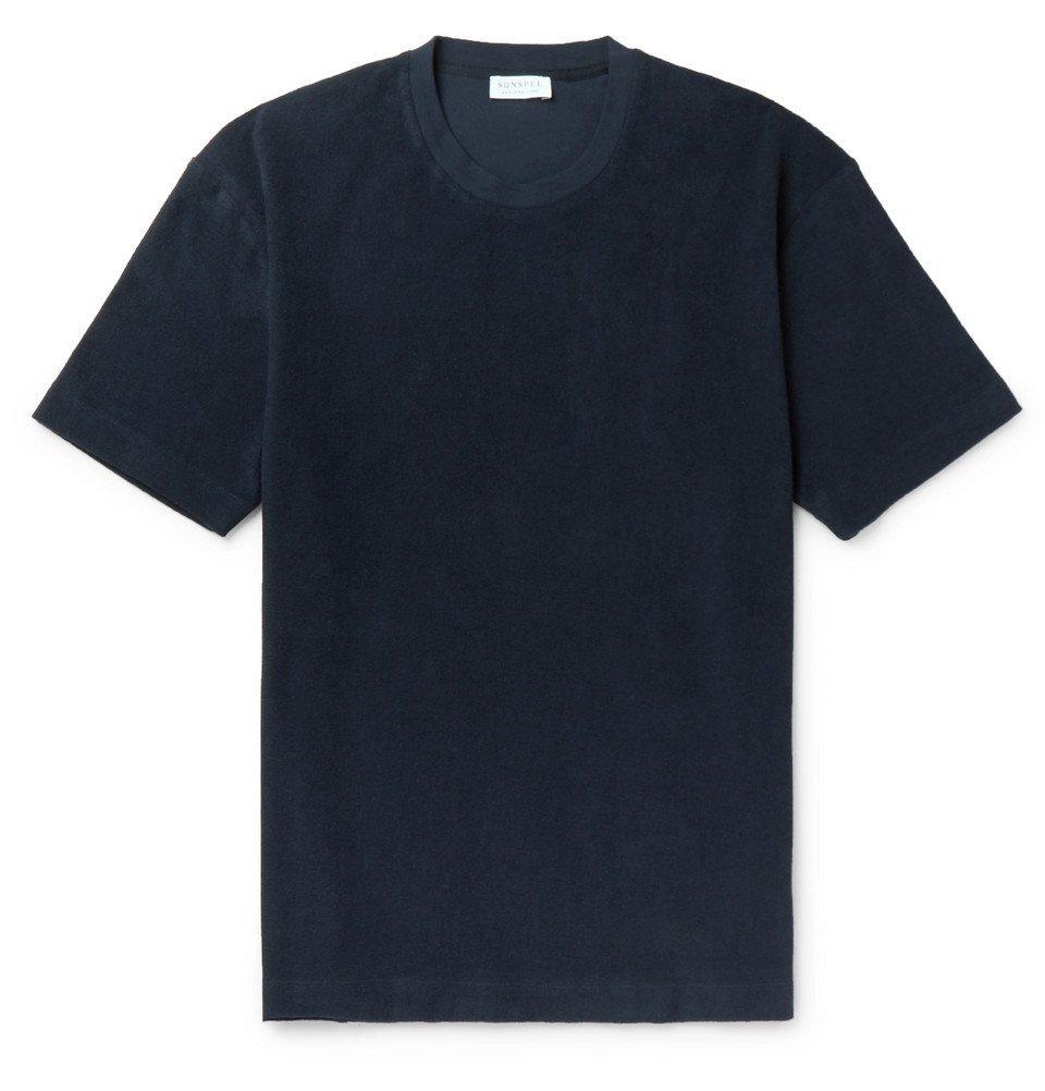 Sunspel - Cotton-Terry T-Shirt - Navy