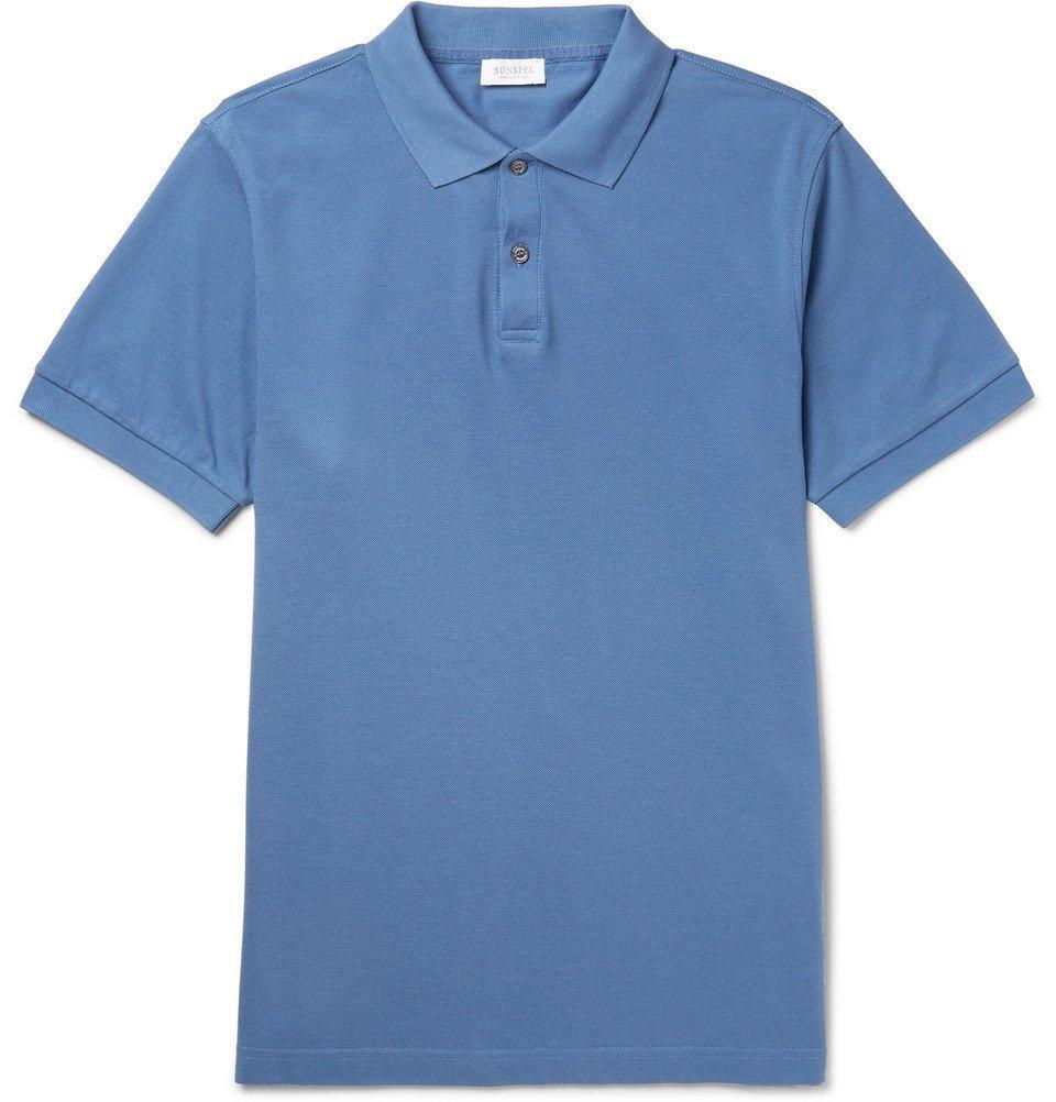 Sunspel - Slim-Fit Pima Cotton-Piqué Polo Shirt - Men - Blue