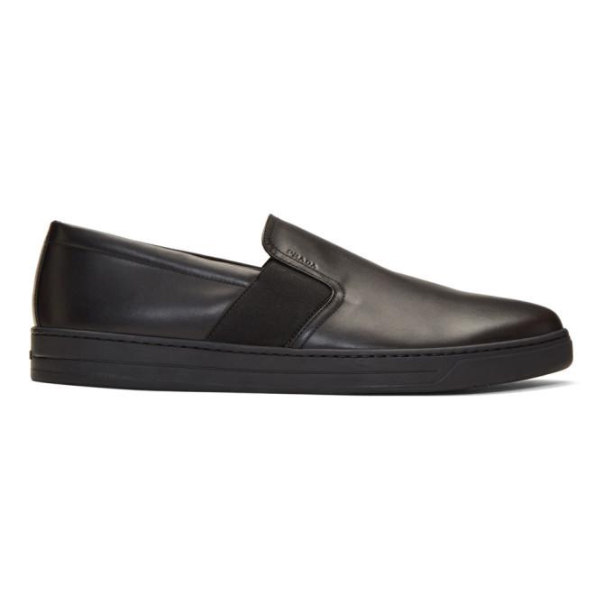 Photo: Prada Black Leather Slip-On Sneakers