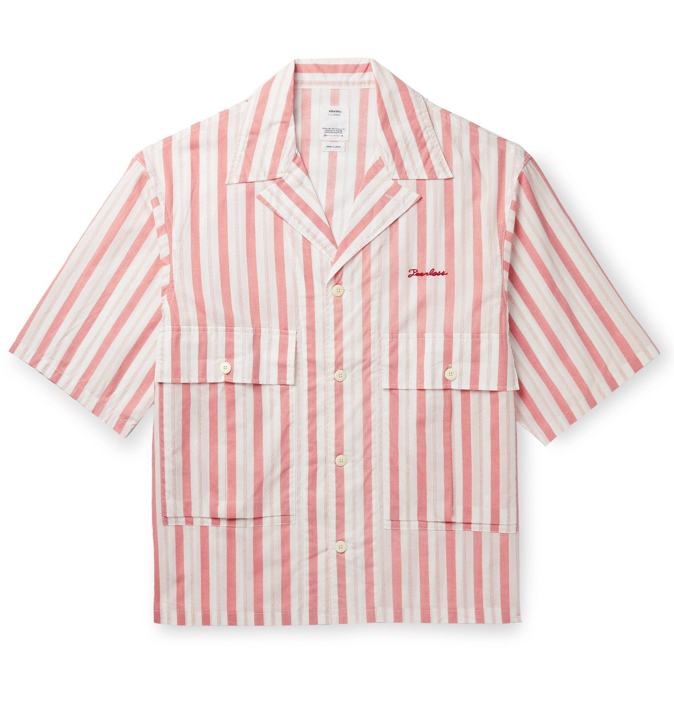 Photo: visvim - Camp-Collar Embroidered Striped Cotton Shirt - Red