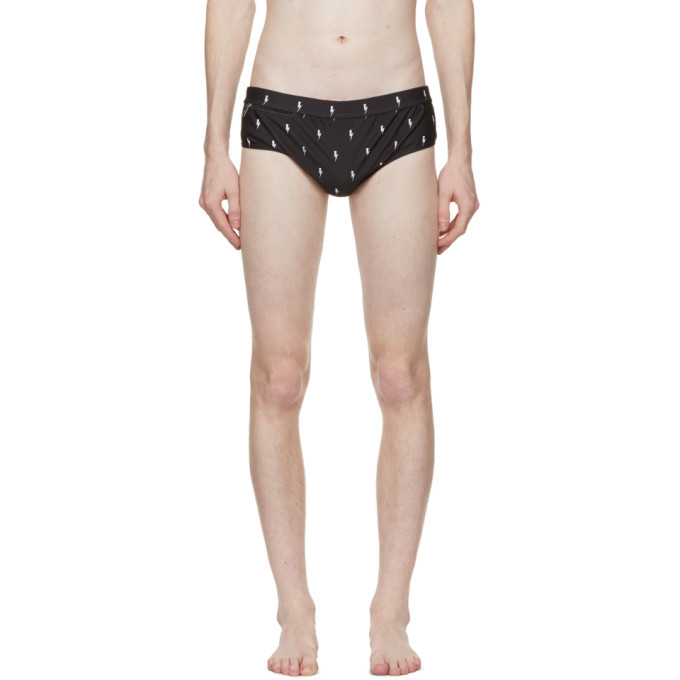 Photo: Neil Barrett Black Allover Thunderbolt Swim Briefs