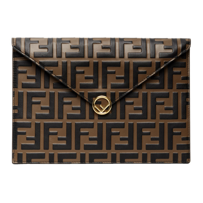 Photo: Fendi Brown and Black Forever Fendi Embossed Envelope Pouch