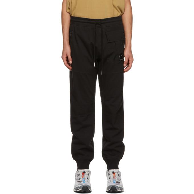 Photo: C.P. Company Black Heavy Jersey Mixed Lounge Pants