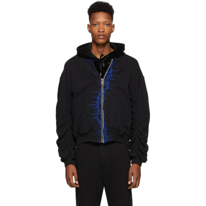 Photo: Haider Ackermann SSENSE Exclusive Black and Blue Embroidered Bomber Jacket