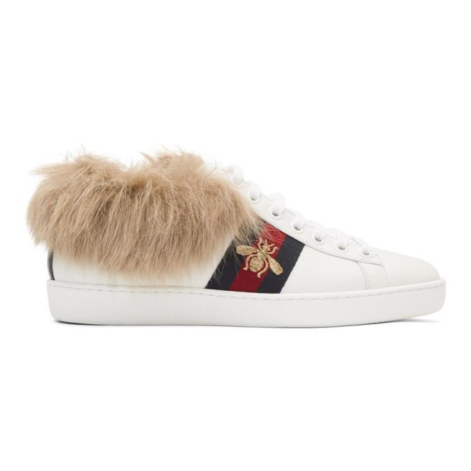Junya Watanabe White Wool-Lined New Ace Sneakers JwttZGu3uN