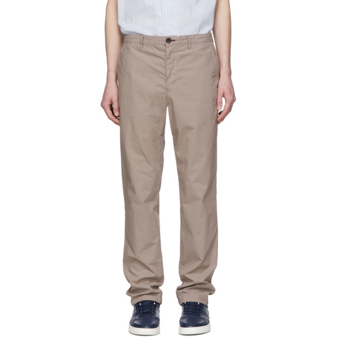 Photo: PS by Paul Smith Taupe Slub Cotton Chinos
