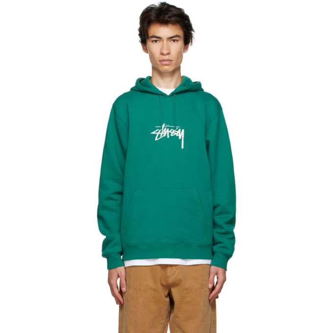 Photo: Stussy Green Stock Logo Hoodie