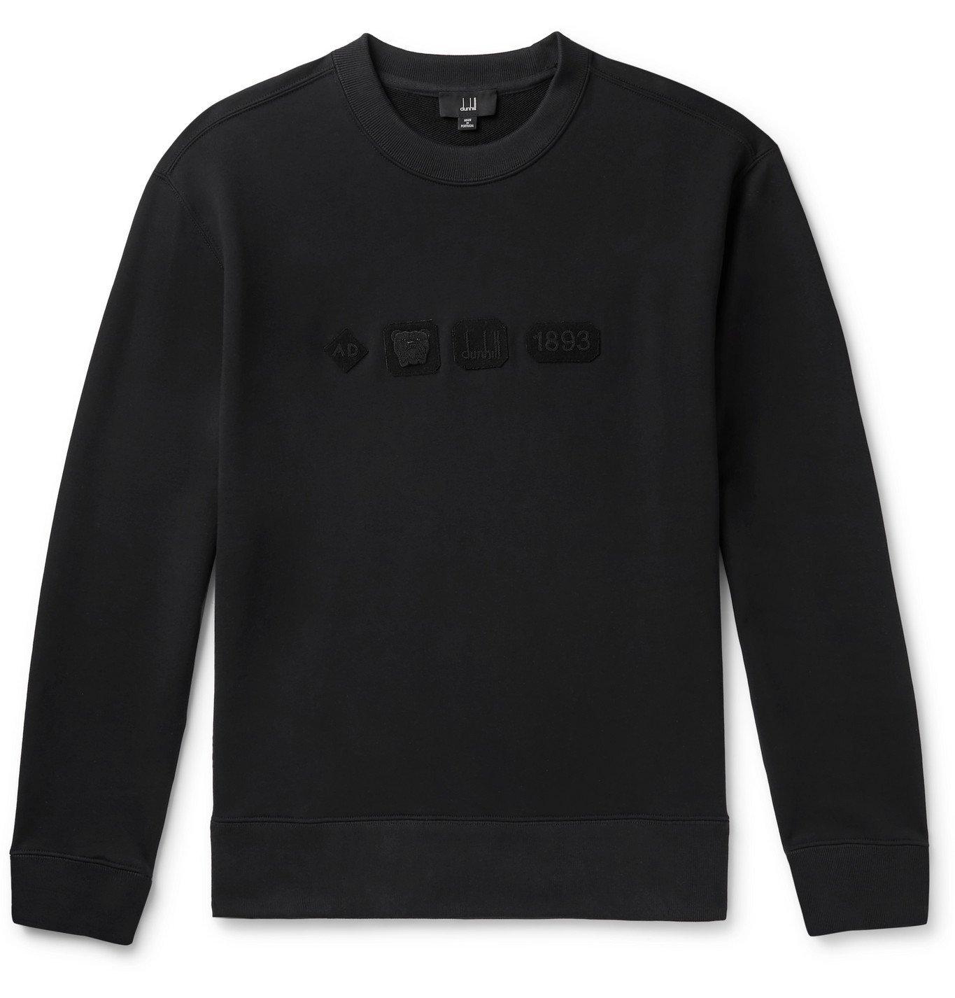 Dunhill - Hallmark Appliquéd Loopback Cotton-Jersey Sweatshirt - Black