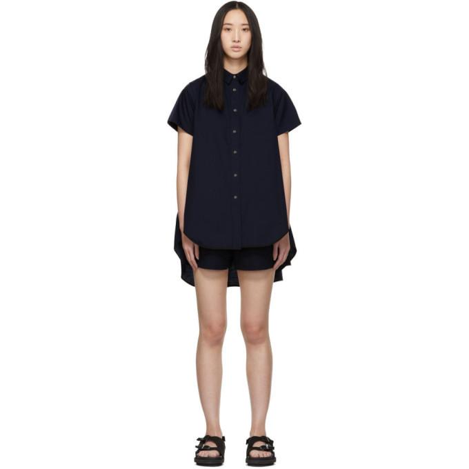 Sacai Navy Shirting Short Sleeve Dress