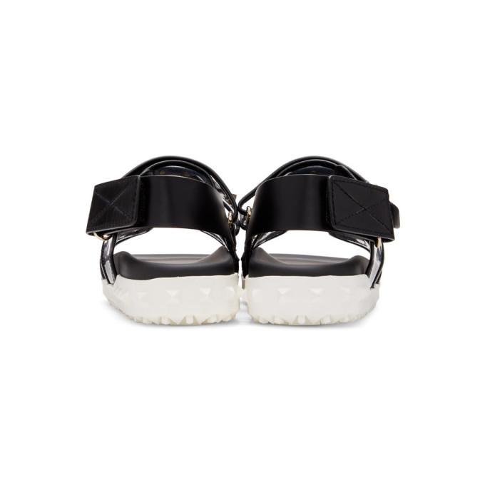 Valentino Black and Transparent Valentino Garavani Rockstud Sandals
