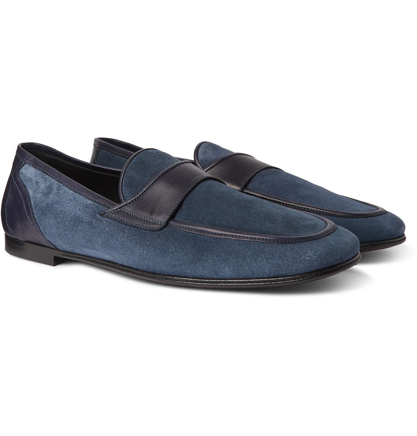 Photo: Dolce & Gabbana - Leather-Trimmed Suede Loafers - Blue