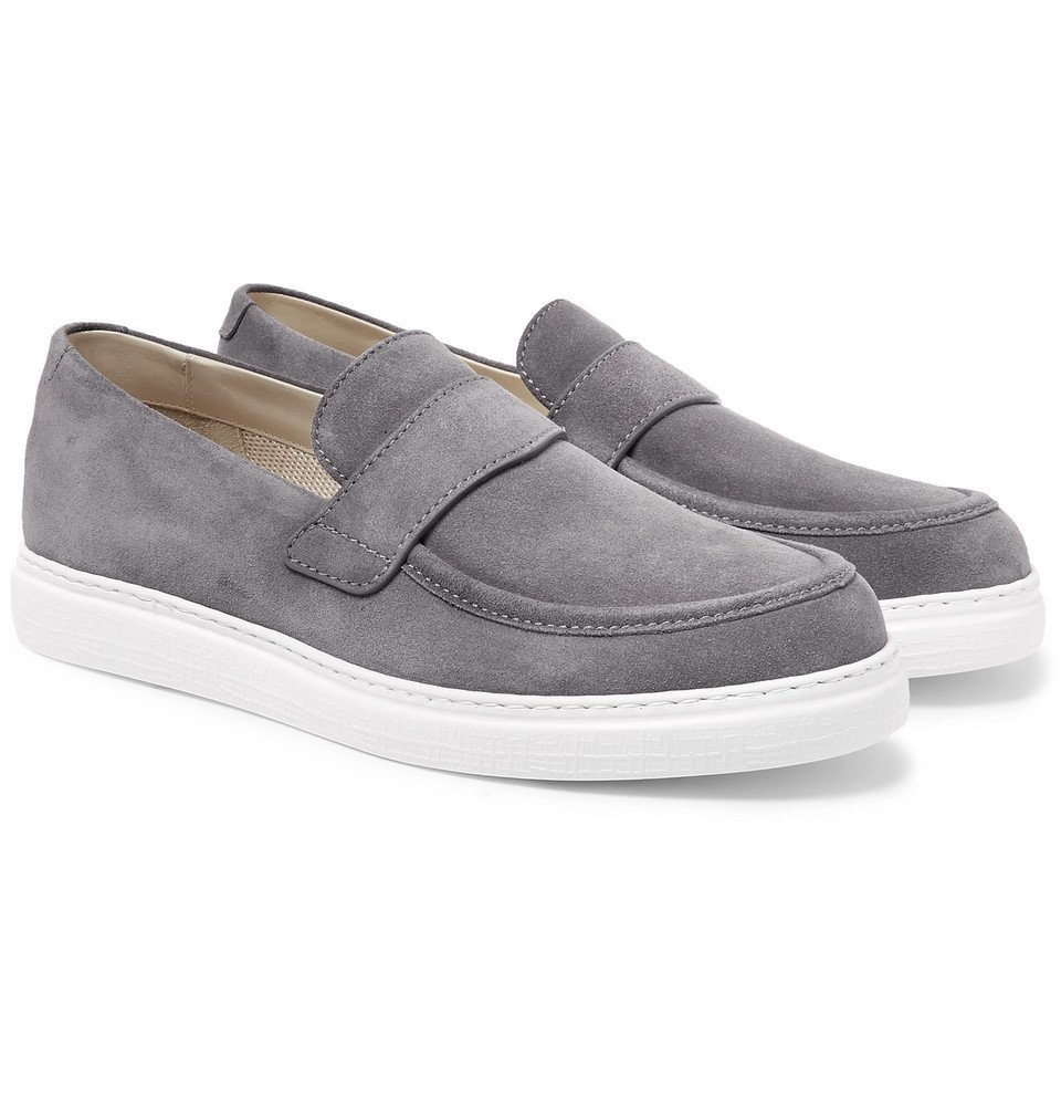 Photo: Canali - Suede Penny Loafers - Gray