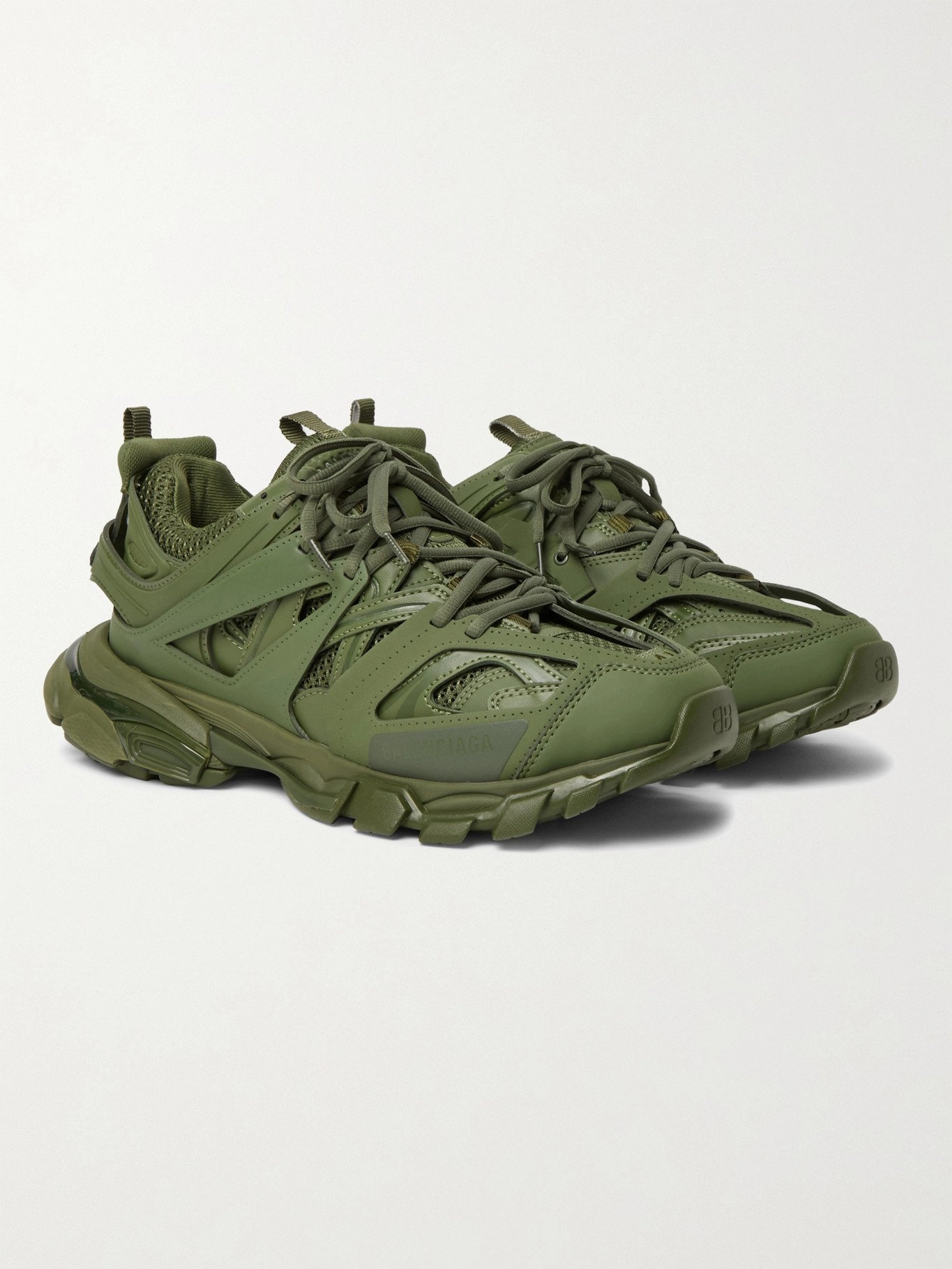 Photo: BALENCIAGA - Track Nylon, Mesh and Rubber Sneakers - Green