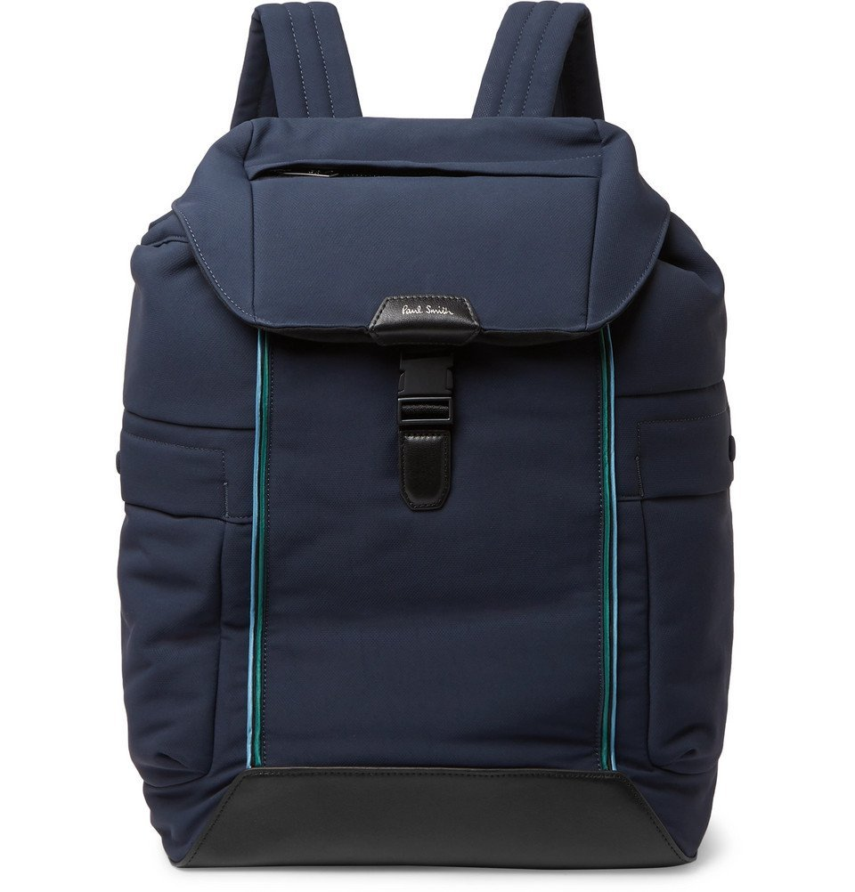 Photo: Paul Smith - Leather-Trimmed Canvas Backpack - Navy