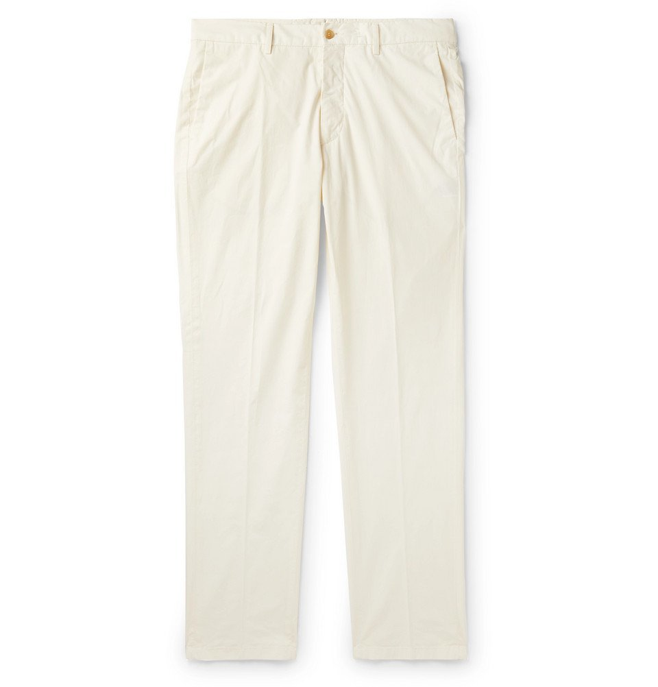 Photo: Dunhill - Slim-Fit Stretch-Cotton Chinos - White