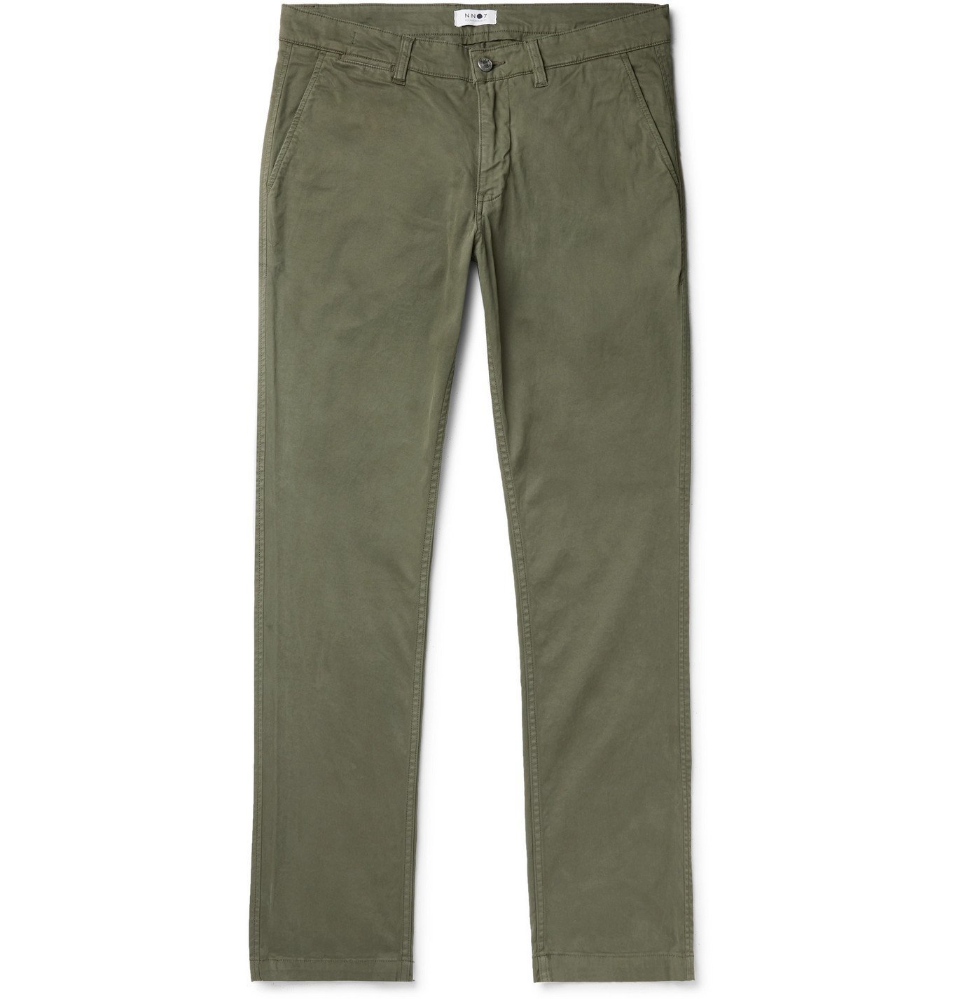 Photo: NN07 - Marco 1400 Slim-Fit Tapered Stretch-Cotton Twill Chinos - Green