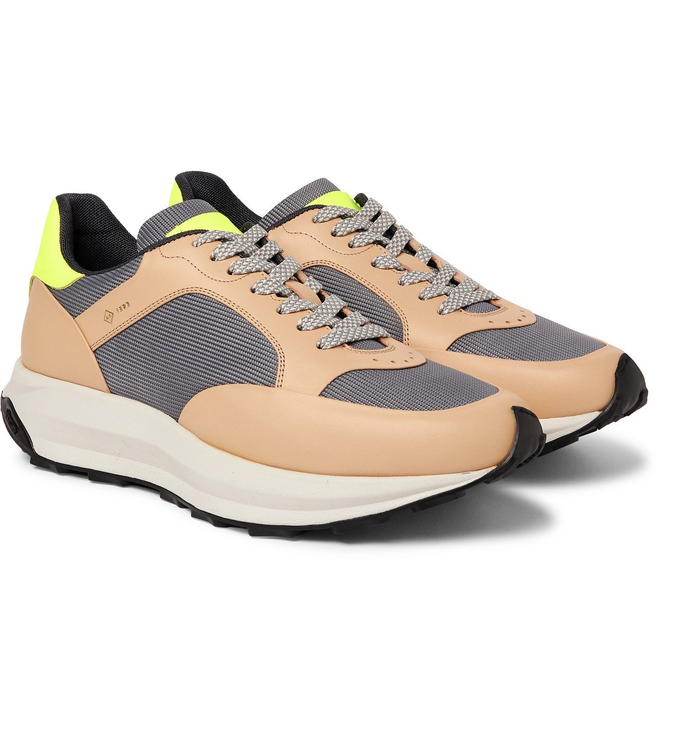 DUNHILL - Aerial Runner Rubber-Trimmed Mesh and Leather Sneakers - Brown
