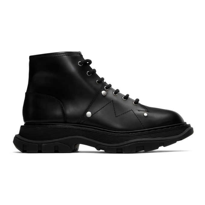 Photo: Alexander McQueen Black Tread Lace-Up Boots