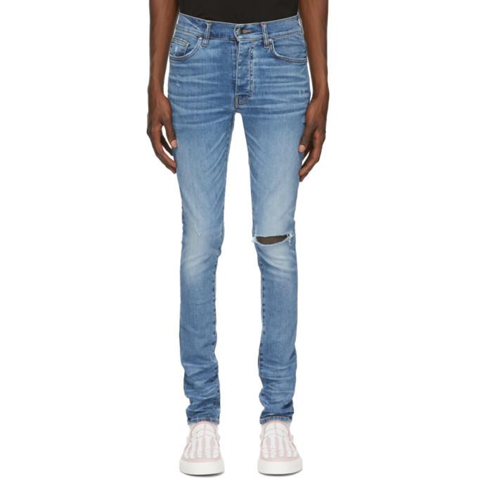 Photo: Amiri Blue Slit Knee Jeans