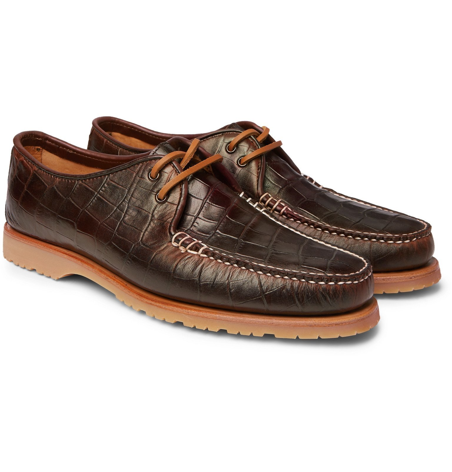 Photo: Noah - Sperry The Captain's Oxford Croc-Effect Leather Loafers - Brown