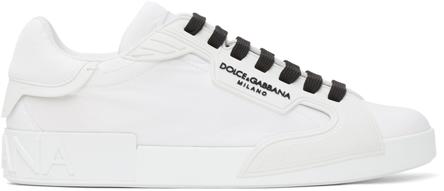 Photo: Dolce & Gabbana White Nylon Portofino Sneakers