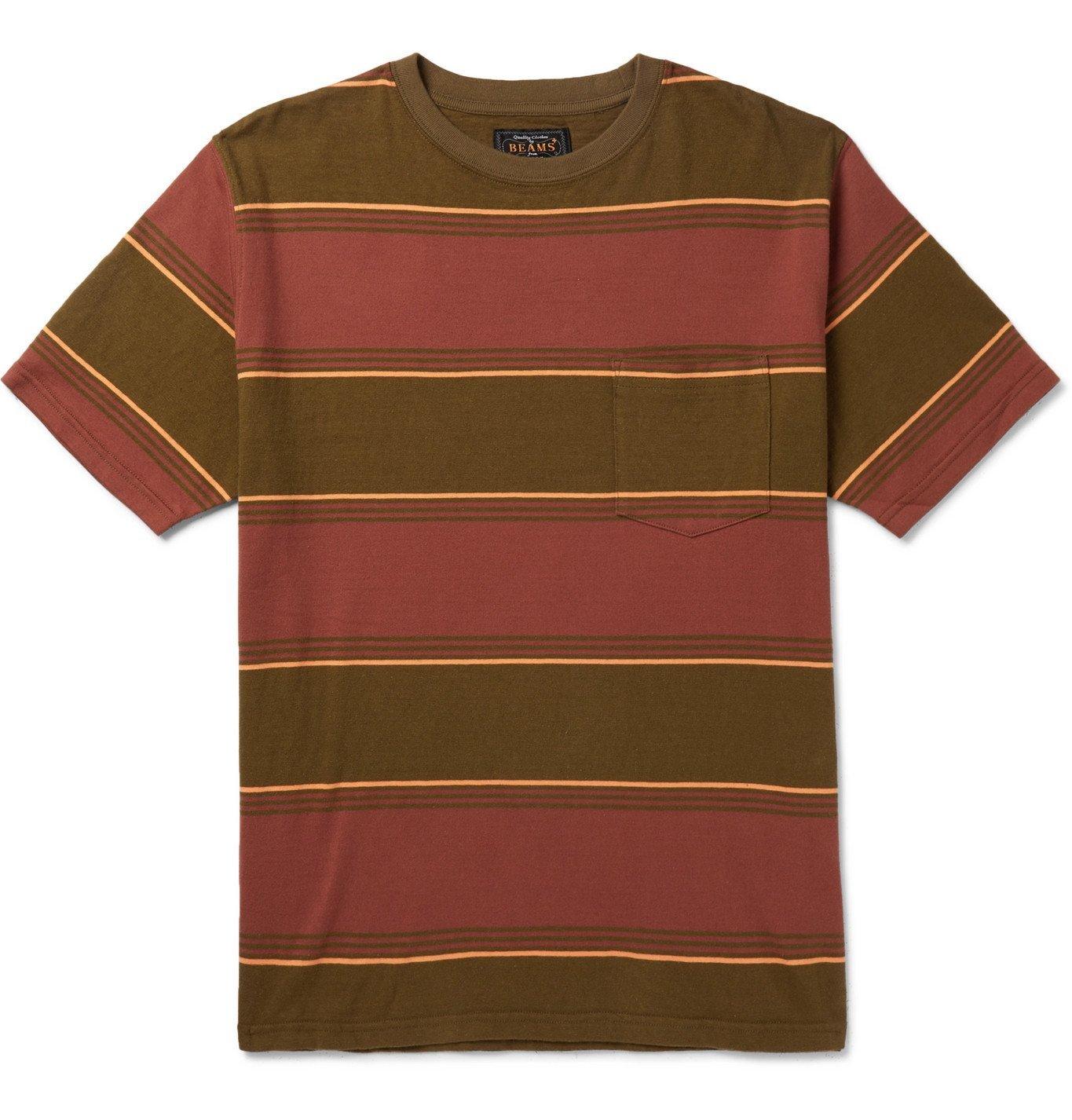 Photo: Beams Plus - Striped Cotton-Jersey T-shirt - Burgundy