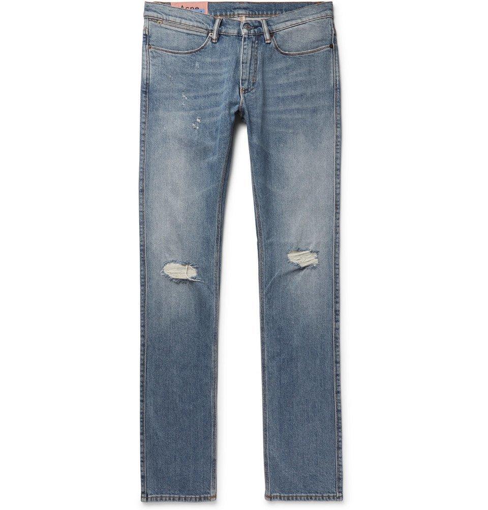 Photo: Acne Studios - Max Slim-Fit Distressed Denim Jeans - Blue