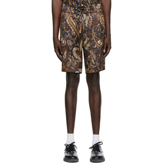 Photo: Nahmias SSENSE Exclusive Brown Silk Paisley Shorts