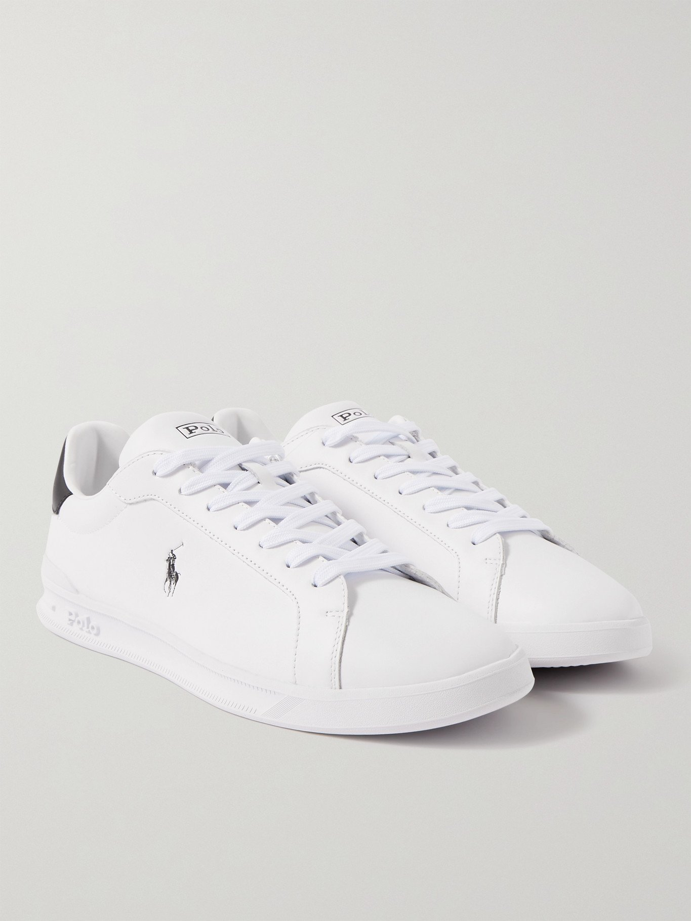Photo: POLO RALPH LAUREN - Heritage Court Logo-Print Leather Sneakers - White