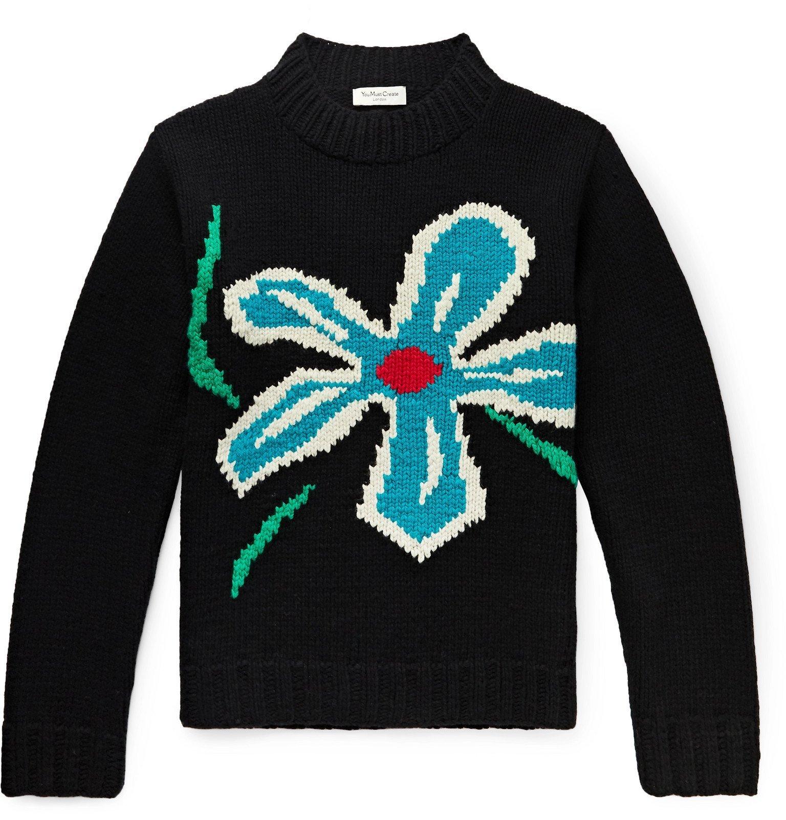 Photo: YMC - Intarsia Wool Sweater - Black