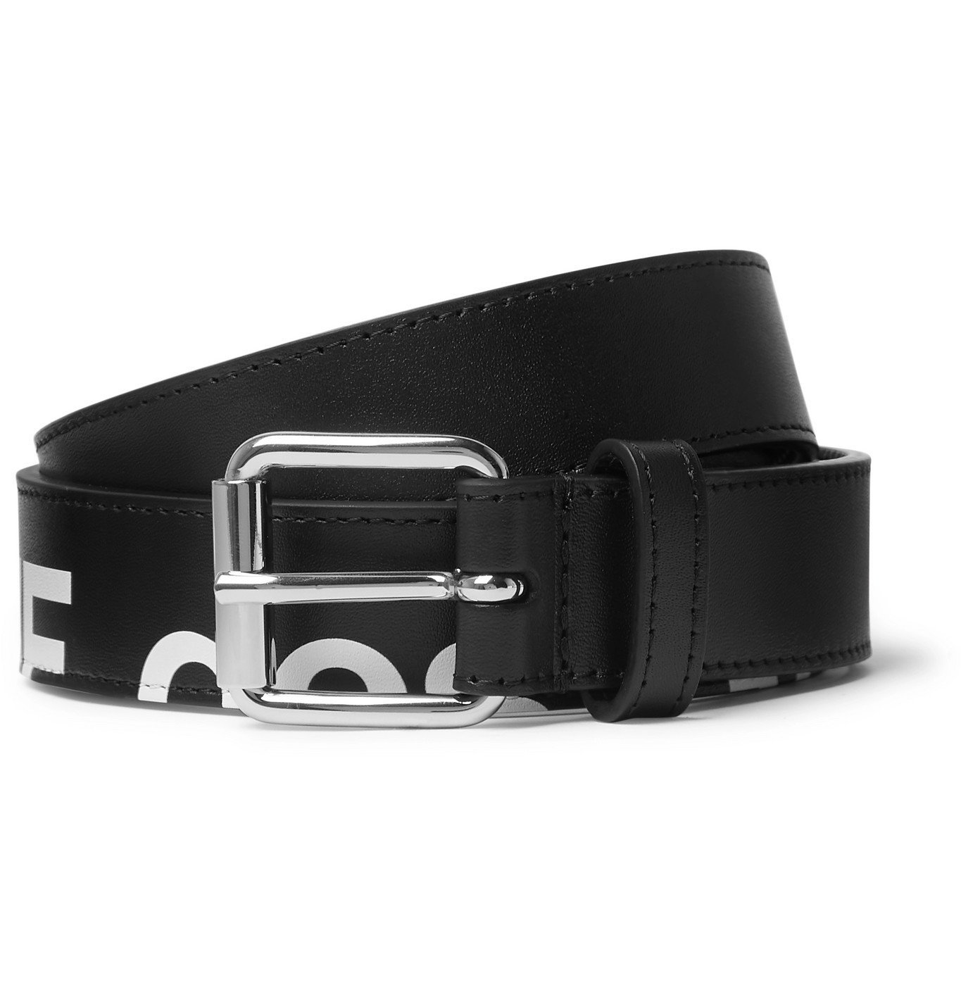 Photo: Comme des Garçons - 3cm Logo-Print Leather Belt - Black