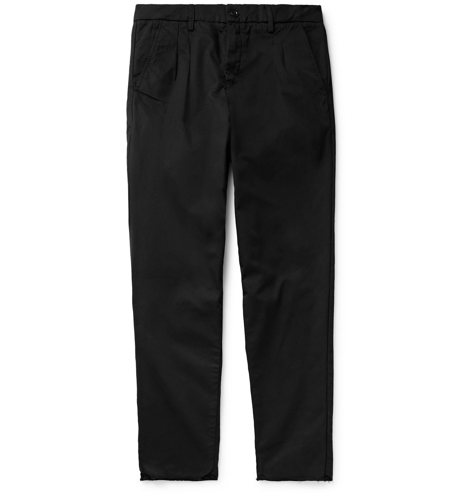 Photo: BILLY - Tapered Pleated Cotton-Twill Trousers - Black