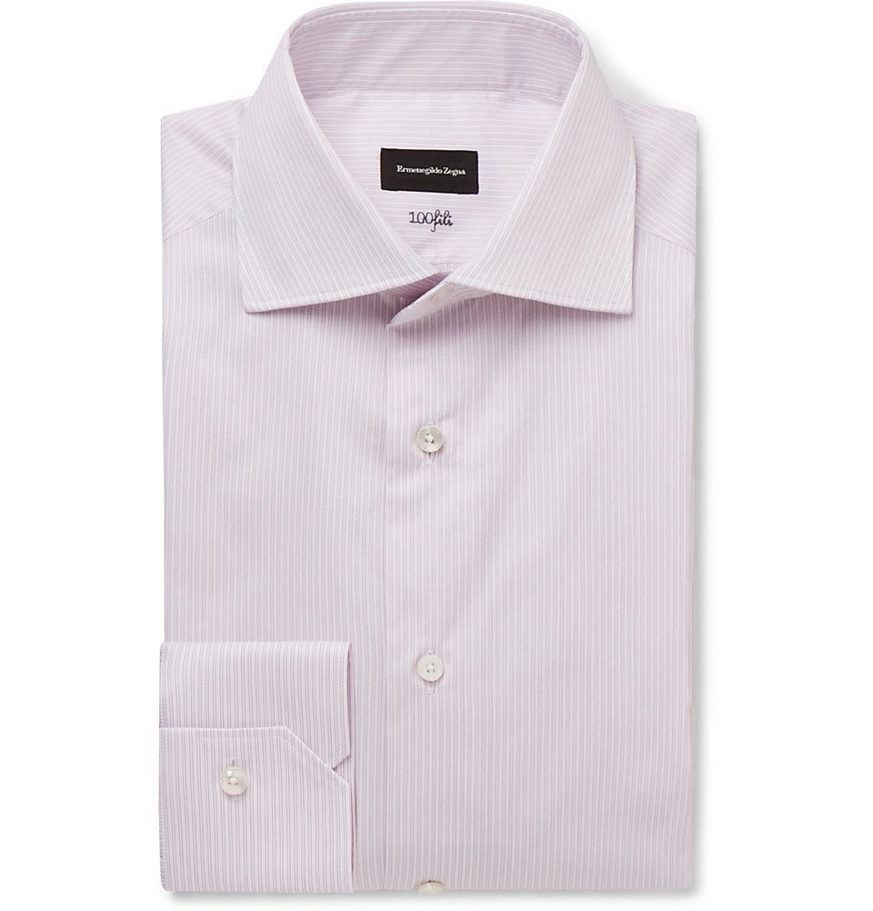 Photo: Ermenegildo Zegna - Pink Cutaway-Collar Striped Cotton-Poplin Shirt - Lilac