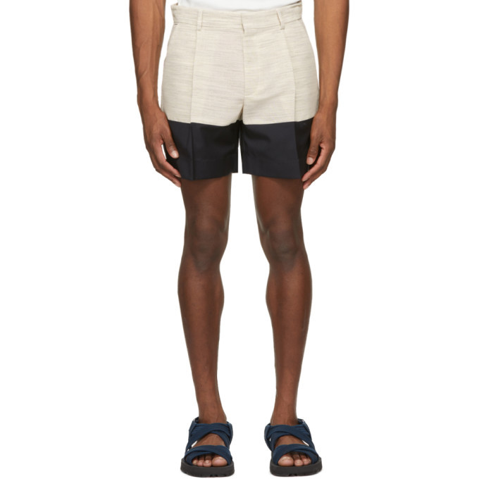 Photo: Botter Beige and Navy Crepe Incrustated Shorts