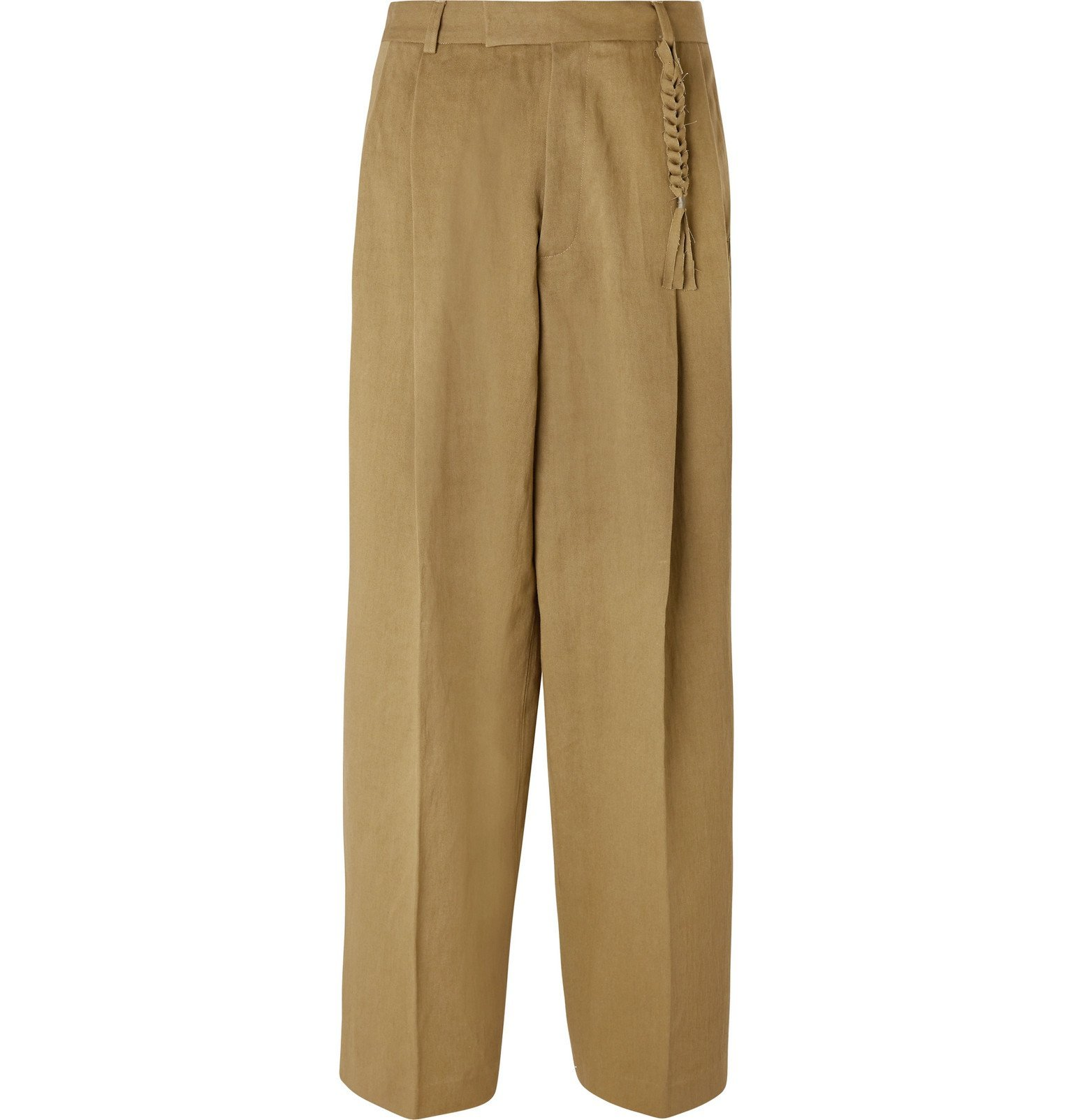 Photo: Rochas - Wide-Leg Pleated Cotton and Linen-Blend Trousers - Brown