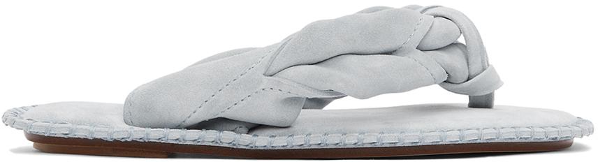 Photo: Acne Studios Blue Suede Blank Stitch Sandals