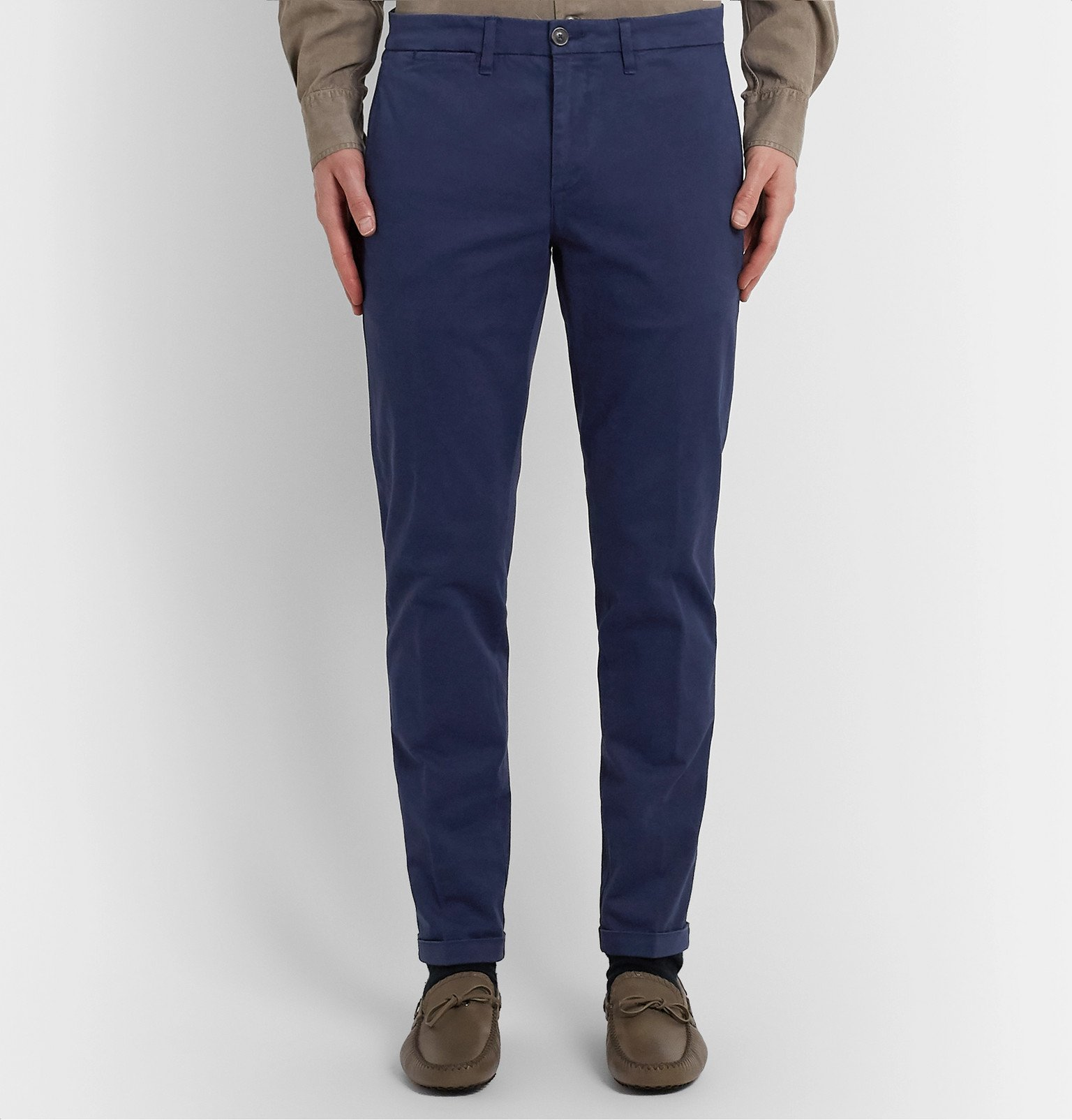 Tod's - Navy Slim-Fit Stretch-Cotton Twill Chinos - Blue