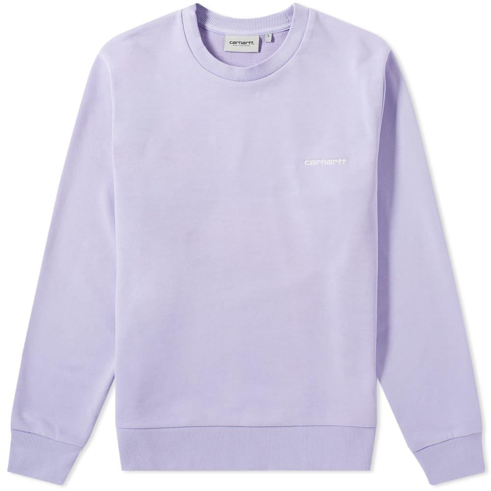 Photo: Carhartt Script Embroidery Sweat Soft Lavender & White