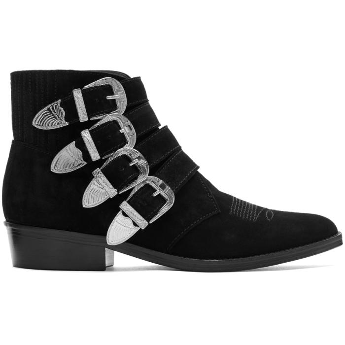 Photo: Toga Virilis Black Suede Four-Buckle Boots