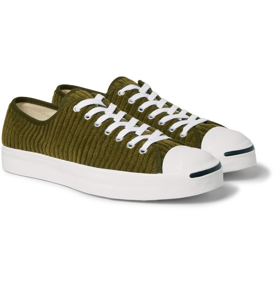 Photo: Converse - Jack Purcell OX Rubber-Trimmed Corduroy Sneakers - Army green