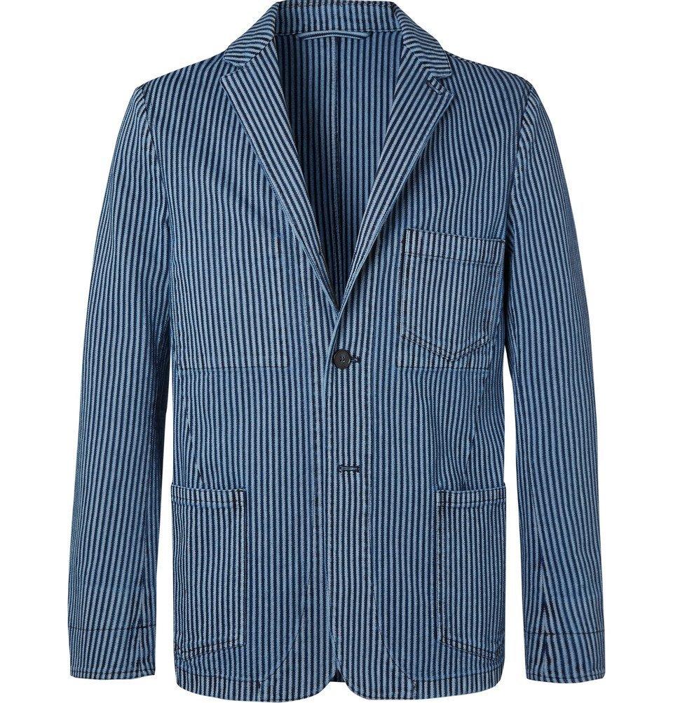 Photo: Officine Generale - Indigo Striped Cotton Blazer - Blue