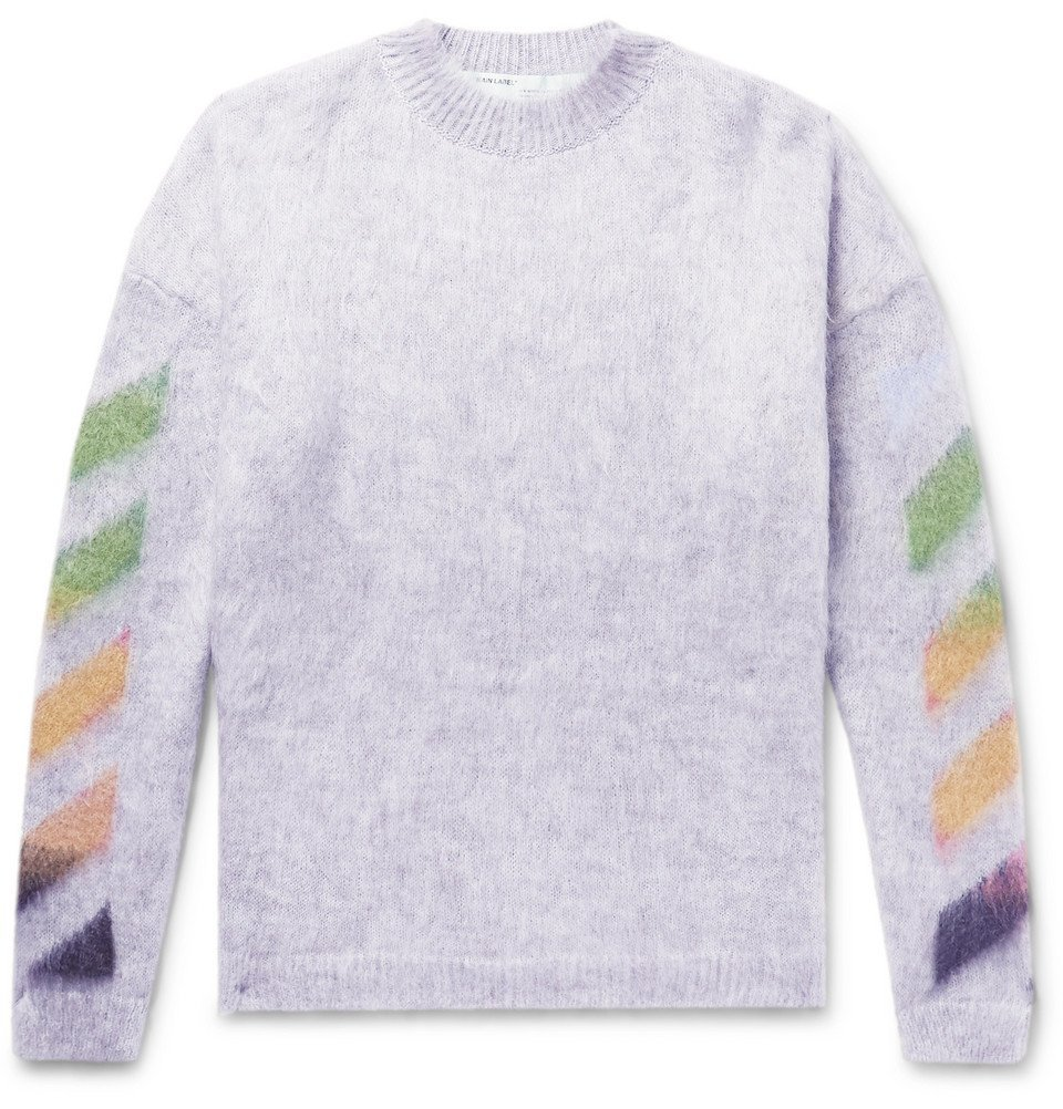Photo: Off-White - Oversized Printed Mohair-Blend Sweater - Men - Gray
