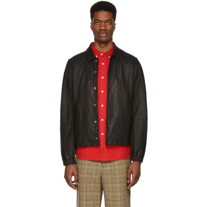 Photo: Saturdays NYC Black Leather Maury Jacket