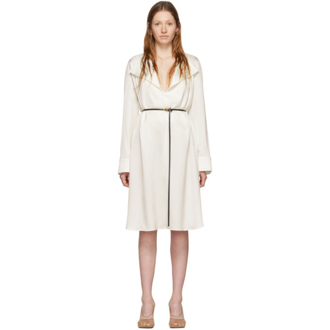 Photo: Bottega Veneta Off-White Silk Belt Dress