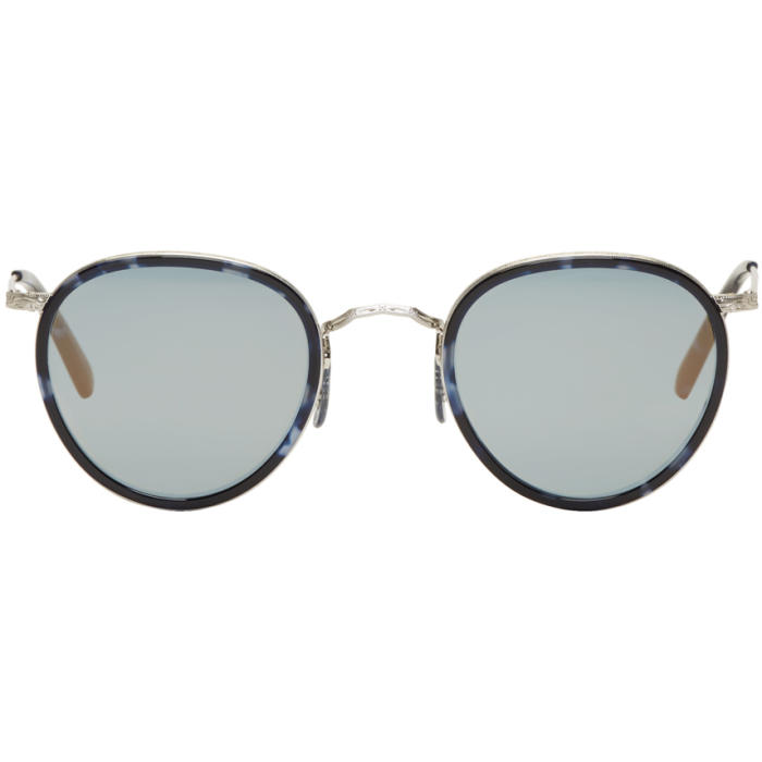 Oliver Peoples Blue and Silver Vintage MP-2 Sunglasses