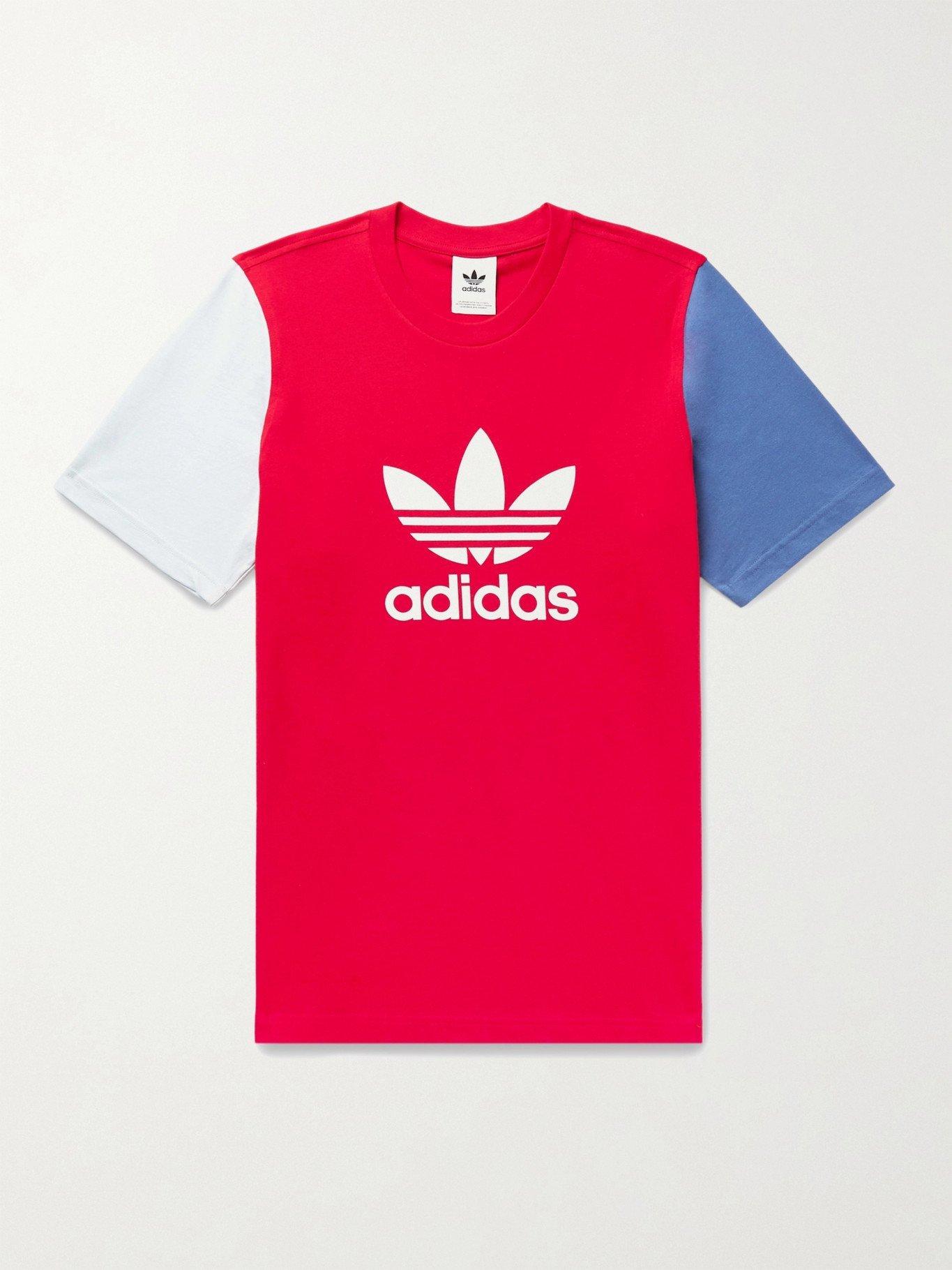 Photo: ADIDAS ORIGINALS - Color-Block Logo-Print Cotton-Jersey T-Shirt - Red
