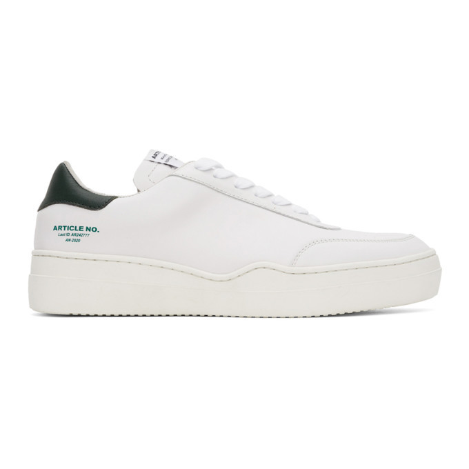 Photo: Article No. SSENSE Exclusive White and Green 0517-04-04 Sneakers