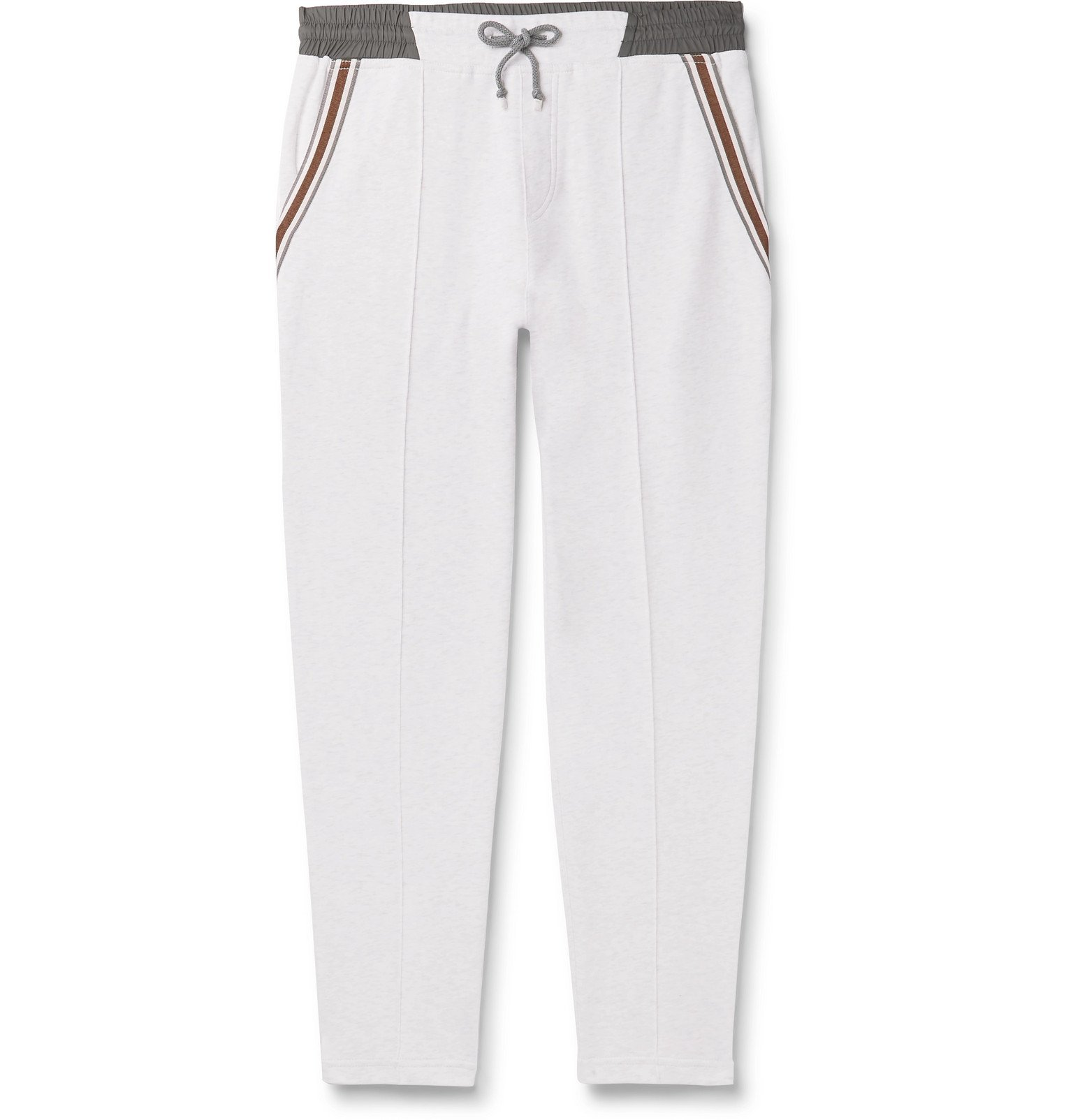 Photo: Brunello Cucinelli - Slim-Fit Tapered Stripe-Trimmed Melangé Cotton-Blend Jersey Sweatpants - Gray