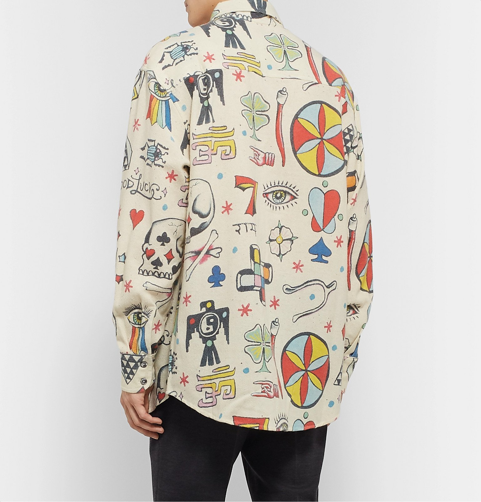 The Elder Statesman - Printed Wool, Cashmere and Cotton-Blend Shirt - Neutrals