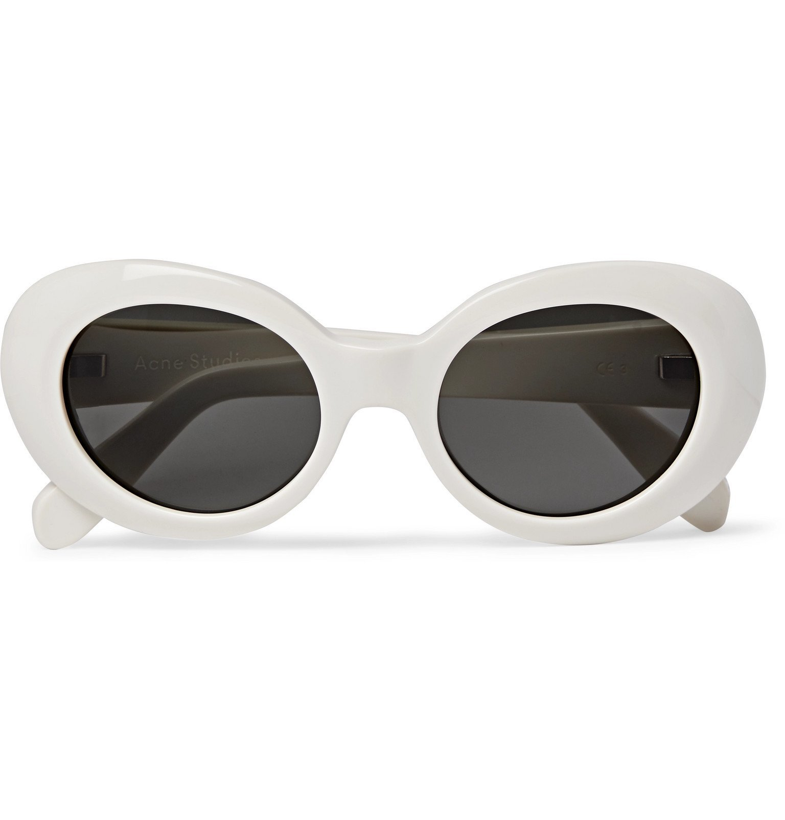 Photo: Acne Studios - Mustang Oval-Frame Acetate Sunglasses - White